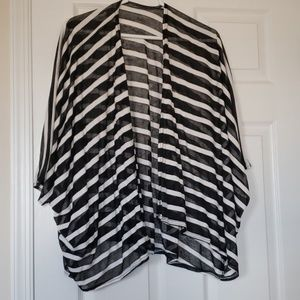 Tops - Black and white striped cardigan size XL